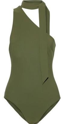 Zimmermann Bowie Tie-neck One-shoulder Swimsuit