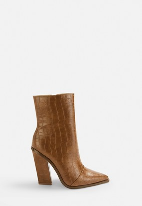 Missguided Tan Faux Leather Croc Western Boots