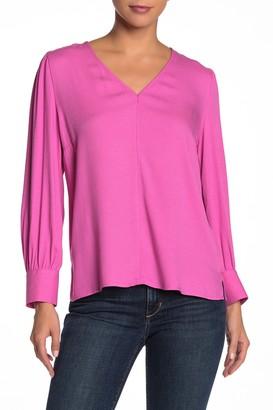 14th & Union V-Neck Long Sleeve Blouse (Regular & Petite)