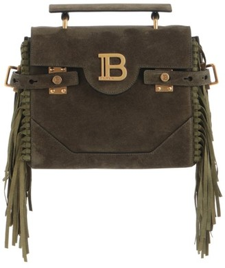 Balmain B-Buzz Fringe Suede Top Handle Bag