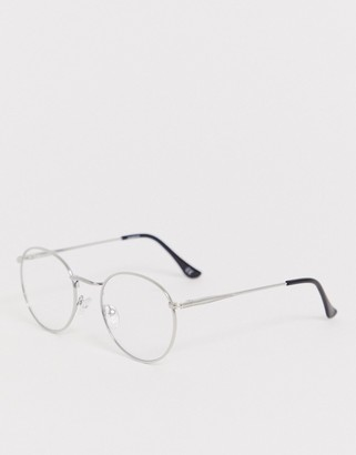 ASOS DESIGN round fashion glasses in silver metal with clear lenses