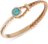 lonna & lilly Gold-Tone Light Brown Leather Blue Stone and Pavé Bracelet