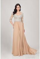 Terani Evening - V- Neck Beaded Chiffon A-line Evening Dress 1711M3379