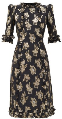 The Vampire's Wife The Cate Floral-jacquard Ruffled Midi Dress - Black Gold