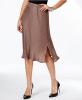 NY Collection Petite Pleated Midi Skirt