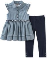 Calvin Klein 2-Pc. Ruffle Tunic & Leggings Set, Little Girls