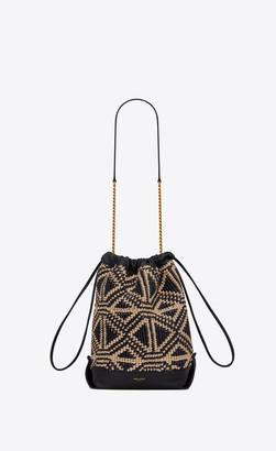 Saint Laurent Bucket Bag Teddy Pouch In Folk Raffia Black Onesize