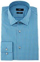 BOSS Jenno Slim Fit Gingham Dress Shirt, Aqua/Blue