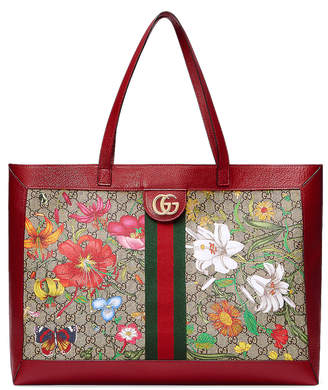 Gucci Supreme GG Flora Tote in Beige Ebony & Red | FWRD