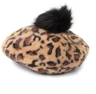 Cara Accessories FUR Leopard Print Fur Pompom Beret