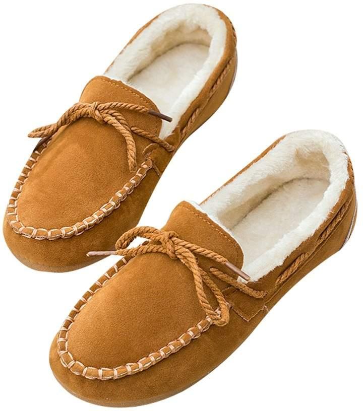 f2e52128960c8 Elfjoy Women Moccasin-Gommino Faux Fur Slippers Winter Soft Cozy Plush  Slip-on Mules 37