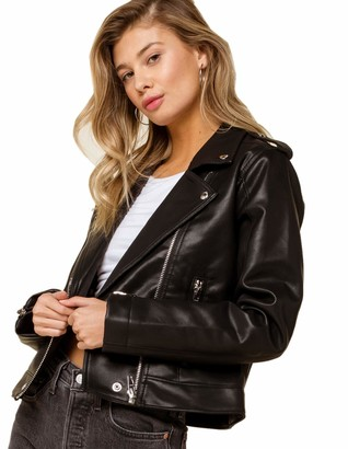 Blank NYC Womens Vegan Leather Moto Jacket Black Small