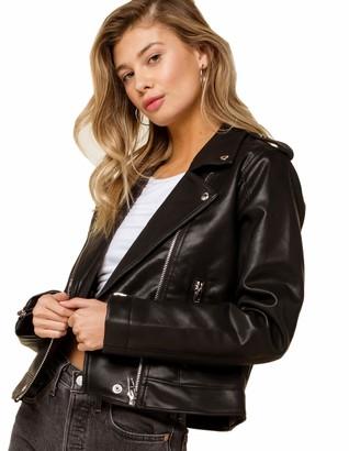 Blank NYC Womens Vegan Leather Moto Jacket Black