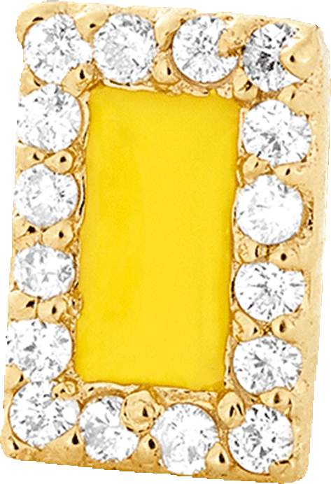 Alison Lou Yellow Enamel And Diamond Stud
