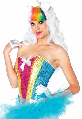 Leg Avenue Women's Rainbow Sequin Corset with Support Boning