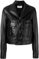 Saint Laurent button front jacket - women - Cotton/Lamb Skin/Cupro - 38