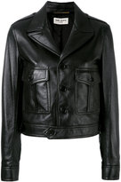 Saint Laurent button front jacket - women - Cotton/Lamb Skin/Cupro - 40