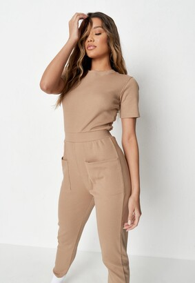 Missguided Camel Jersey Rib Pocket Front Jumpsuit