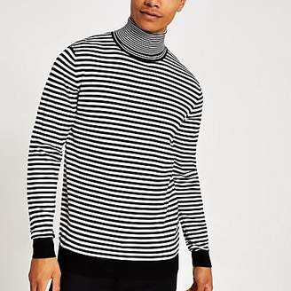 River Island Black mono stripe roll neck slim fit jumper