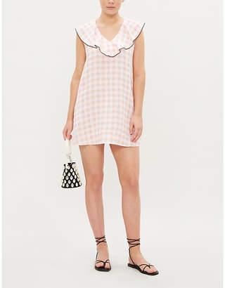Marysia Swim Harbor gingham linen mini dress