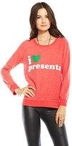 Chaser Womens I Heart Presents Fleece Pullover Size