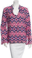 Tory Burch Sequin-Embellished Printed Top