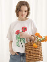 Flower printed t shirt camellia