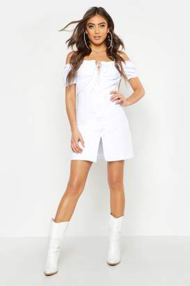 boohoo White Denim Lace Up Dress