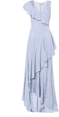 True Decadence Ice Blue Floral Asymmetric Maxi Dress