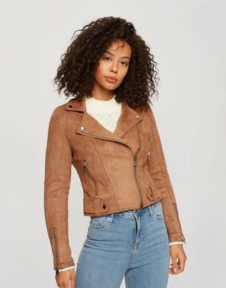 Miss Selfridge faux suede biker jacket in tan