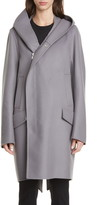 Rick Owens Slab Hooded Long Wool & Nylon Coat