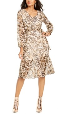 Thalia Sodi Animal-Print Peasant Dress, Created for Macy's