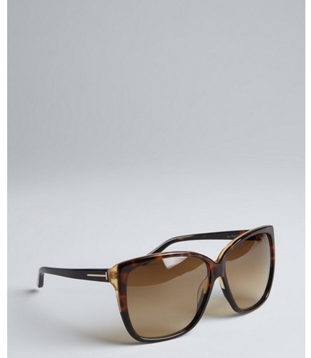 Tom Ford dark havana 'Lydia' oversize sunglasses