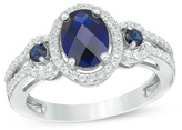 Zales Oval Lab-Created Blue and White Sapphire Frame Three Stone Ring in Sterling Silver