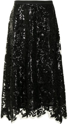 Antonio Marras Floral Sequin A-Line Skirt