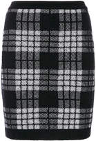 Balmain checked knitted skirt