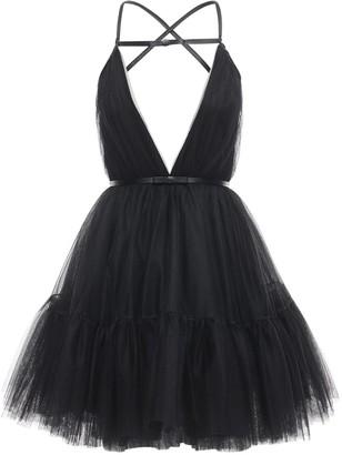BROGNANO Tulle Mini Dress W/ Faux Leather Details