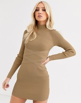 Asos DESIGN structured knit mini dress with waist detail