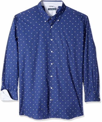 Nautica Men's Tall Long Sleeve Wrinkle Resistant 100% Cotton Button Down Shirt