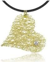 Orlando Orlandini Diamond 18K Yellow Gold Heart Pendant w/Lace