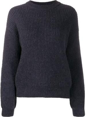 Closed long-sleeve ribbed jumper