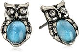 "lonna & lilly Classics"" Silver-Tone/Blue Owl Stud Earrings"