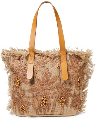 Antik Batik Barry Medium Embroidered Raffia And Jute Tote