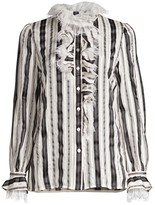 Tory Burch Striped Raw-Lace Ruffled Blouse