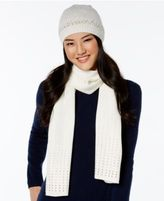 Rampage Rhinestud Beanie and Oblong Scarf Set, Only at Macy's