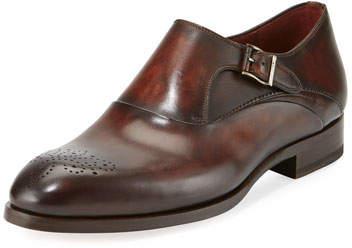 Magnanni Leather Medallion-Toe Monk-Strap Shoe