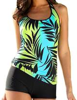 XIAOLI COLLETION Women Leaves Print Plus Size Two Piece Sporty Swimwear Boy short Tankini Set
