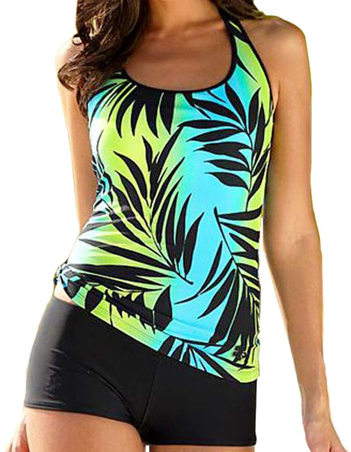 XIAOLI COLLETION Women Leaves Print Plus Size Two Piece Sporty Swimwear Boy short Tankini Set