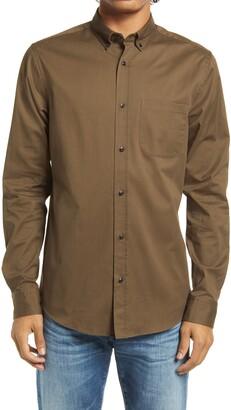 Scotch & Soda Trim Fit Solid Twill Button-Down Shirt