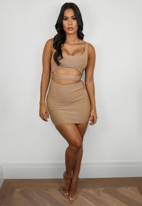 Missguided Premium Camel Bandage Cut Out Strappy Bodycon Mini Dress